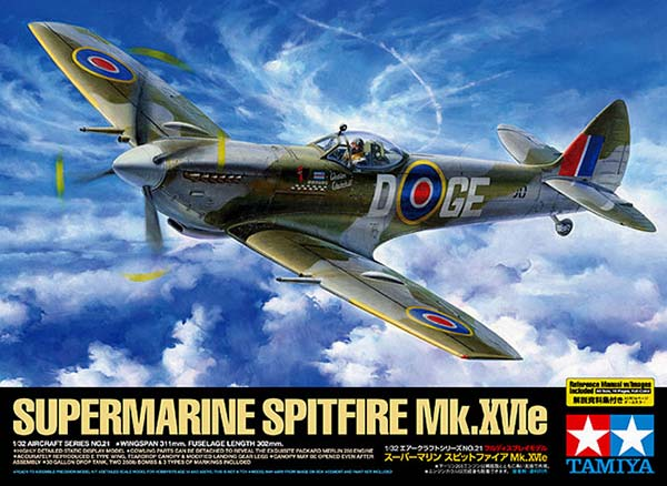 Tamiya 1/32 Supermarine Spitfire Mk.XVIe (60321) English Color Guide & Paint Conversion Chart